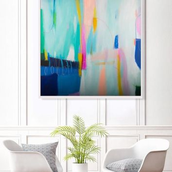 Teal blue abstract painting, abstract colorful painting , modern, original acrylic abstract art, abstract modern wall art