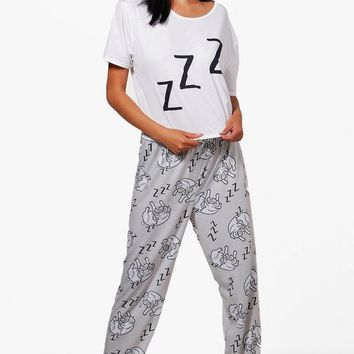 Elise Sleeping Pug Crop & Legging PJs | Boohoo