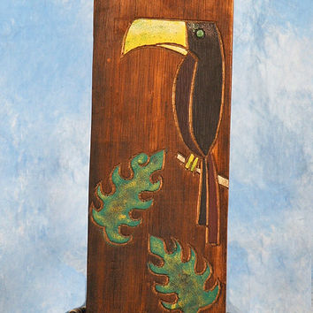 """BIRD & MONSTERA LEAF"" RELIEF - 12"" CARVED & PAINTED - OCEANIC ART"
