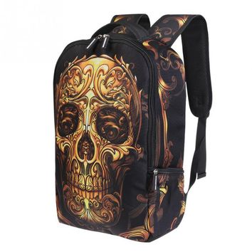 New Man Backpack Fashion European And American Style Cool 3D Golden Skull Shoulders Backpack Creative Men Bags Unisex Backpacks