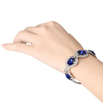 Five Stones Drilling Chain Bracelet Blue