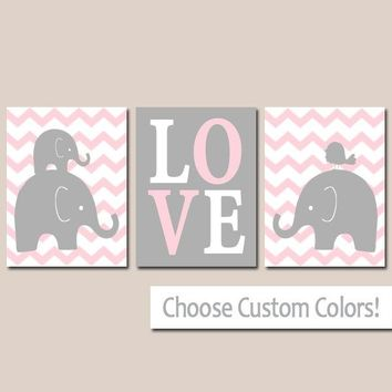 Girl ELEPHANT Nursery Art, Baby Girl Elephant Decor, Pink Gray Nursery Wall Art, Chevron Bird Love, Canvas or Prints, Set of 3 Decor