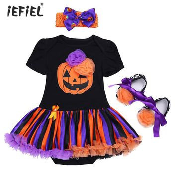 Hot Baby Toddler Halloween Costumes Baby Girls Rompers Outfits Newborn Halloween Pumpkin Jumpsuits Dress Cartoon Printed Rompers