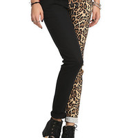 Royal Bones Split Leg Black Leopard Skinny Pants