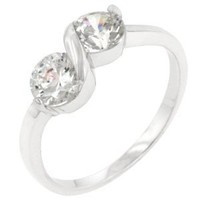 Infinity 1 CT Sterling Silver 14k Gold Finish CZ Ring Size 10