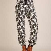 G2 Fashion Square Trendy Black Tribal Ethnic Print Loose Trouser Pants(BTM-PNT,OWH-S)