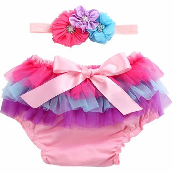 0-2Y Newborn Baby Shorts Lace Rainbow Three Cake Skirt;Ruffled Diaper Covers Baby Bloomers Headband 2 PCS Set Baby Girl Panties