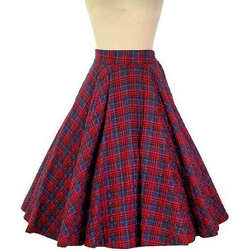 """Vintage Circle Skirt Quilted Red Navy Blue Plaid 1950s 24-27"""" Waist Small"""