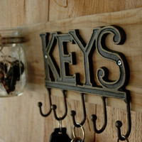 KEYS wall decor with metal KEY sign and 4 hooks and one crystal clear mason jar