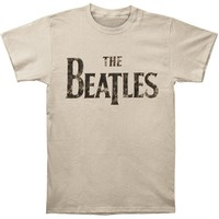 Beatles Men's  Distressed Logo T-shirt Tan Rockabilia