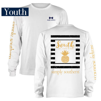 Simply Southern Preppy Collection Pineapple T-Shirt for Girls LS-YTH-PRPPINE-WHITE