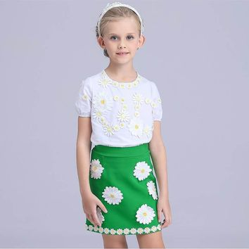 LP Girls Summer Skirts Outfit Daisy Floral Girls Clothes Set 4-12y