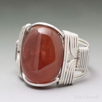 Carnelian Sterling Silver Wire Wrapped Cabochon Ring