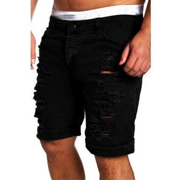 Men's Casual Jeans Destroyed Knee Length Hole Ripped Pants fitnesws pants casual straight harem