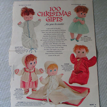 Baby Doll Pattern with five clothing options, Vintage, Cloth Doll Pattern, Handmade doll pattern.