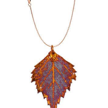 Real Leaf PENDANT with Chain BIRCH Dipped in Iridescent Copper Necklace