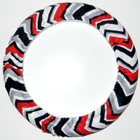 Black/Red/Gray Chevron Steering Wheel Cover, Cute Girly Cotton Car Wheel Cover, Made in USA