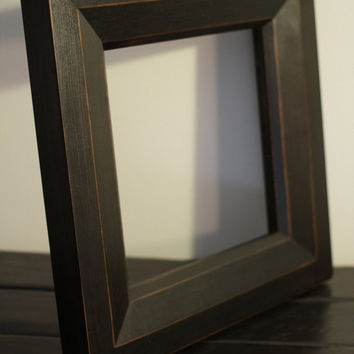 Black Cherry Double Bevel Picture Mirror Frame with Worn Edges