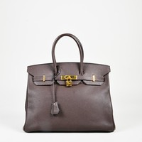 "Hermes ""Cafe"" Brown ""Evergrain"" Leather ""Birkin 35"" Top Handle Bag"