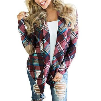 Cardigans For Women Fashion Plaid Cardigan Knitted Sweater Coats Casual Long Sleeve Poncho Women Patchwork Jacket