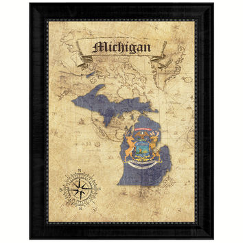 Michigan State Vintage Map Gifts Home Decor Wall Art Office Decoration