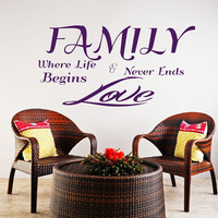 Family Wall Decal Where Life Never Ends, Begins Love Quote  Decal Family Vinyl Stickers Home Bedroom Living Room Decor T156