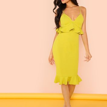 Plunging Neck Ruffle Hem Bodycon Cami Dress