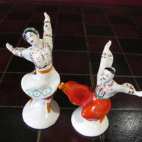 "Traditional Ukrainian, Russian Folk Dancers Porcelain Figurines, ""Cossack Dance"", Pair Male and Female Dancer, Red And White, Gopak Dancer"