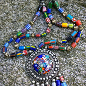 TREASURED - OOAK Necklace/Antique 1900s Millefiori Venetian Glass Beads Necklace/Antique Beads Necklace/Venetian millefiori beads necklace