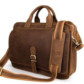 BLUESEBE MEN HANDMADE VINTAGE STYLE FULL GRAIN LEATHER BRIEFCASE/MESSENGER BAG/LAPTOP BAG 6020