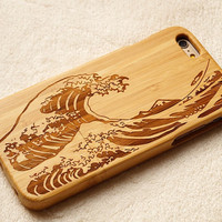 Copy of Carving wood case Wood iPhone 6 case, waves of the sea iphone 6plus wood case, iphone 5 case, iphone 5c case,iphone 4 case