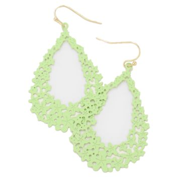 Green Floral Teardrop Metal Earrings