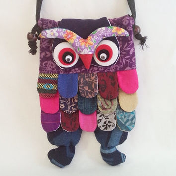 Bag Purse Hobo Hippie cotton bag Boho Bag Handmade Adorable Patchwork Owl Shoulder bag Sling bags Purse Wallet Sack