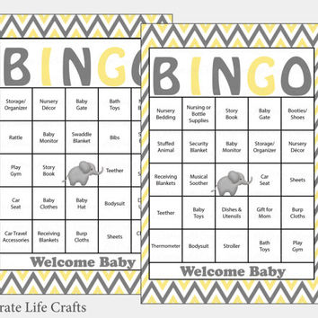 100 Elephant Baby Shower Bingo Cards -  100 Prefilled Bingo Cards - Gender Neutral Baby Shower Game - Yellow Gray - Download - B3002