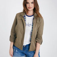 Plus Size Plaid Patch Anorak Jacket | Wet Seal