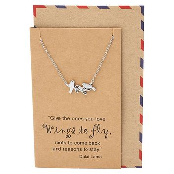 Galina Little Birds on Branch Pendant Necklace for Women, Gifts for Family, Inspirational Quote