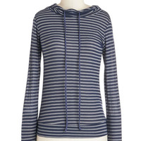ModCloth Nautical Mid-length Long Sleeve Sweatshirt Read-Through Ready Top