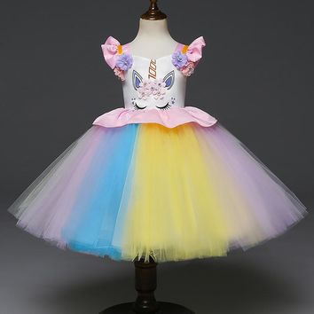 Baby Girls Cartoon Dress Rainbow Girls Dresses Kids Party Vestidos Prom Gowns Kids Cute Wedding Costume Tutu Unicorn Frocks 1-5T