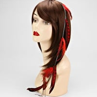 Red Feather Hair Accessory