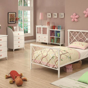 Elaine Pink and White Twin Size Bed