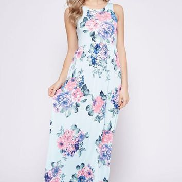 2018 Spring Light Blue Floral  Printed Poly Spandex High/Low Tank Maxi Dress With Hidden Pockets  Pre Order