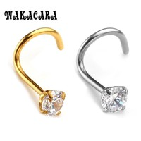 Fashion 3MM Zircon Rhinestone Septum Nose Studs Hooks Bar Pin Nose Rings Body Piercing Stainless Steel Jewelry For body feminino
