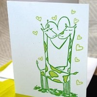 Giraffe Screenprint love card by fiskandfern on Etsy