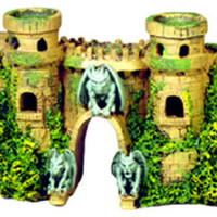 Resin Ornament - Castle Fortress W/gargoyles 10 X 3.5 X 5.5""