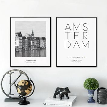 City Poster Amsterdam Coordinates Posters And Prints Wall Art Canvas Painting Wall Pictures Netherlands Home Decoration