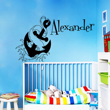 Wall Decal Vinyl Sticker  Decals Home Decor  Murals Custom Personalized Name Anchor Marine Nautical   Baby Boy Nursery Bedroom Dorm MM53