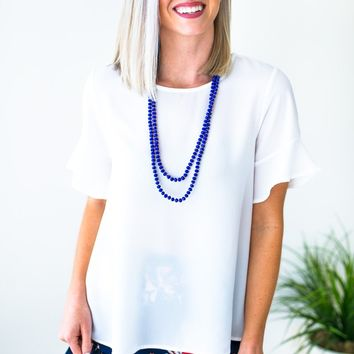 Watching the Clock Flutter Sleeve Top - Off White