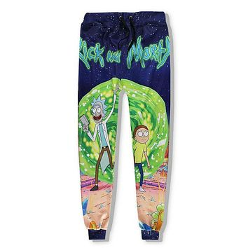 LiZhiYang 3D print Men Women Funny casual rick and morty Pants Fashion Clothes Sweatpants Autumn Fall Winter Style Trousers