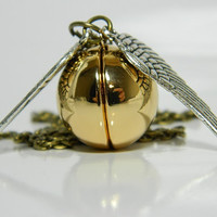 Harry Potter Inspired Legendary Golden Snitch Locket Necklace.
