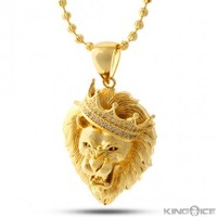 King Ice 14K Gold Roaring Lion CZ Necklace